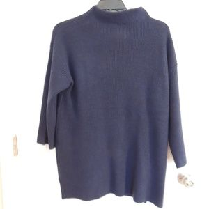 Chico's Sz M Sweater Pullover Navy Blue Long Slv